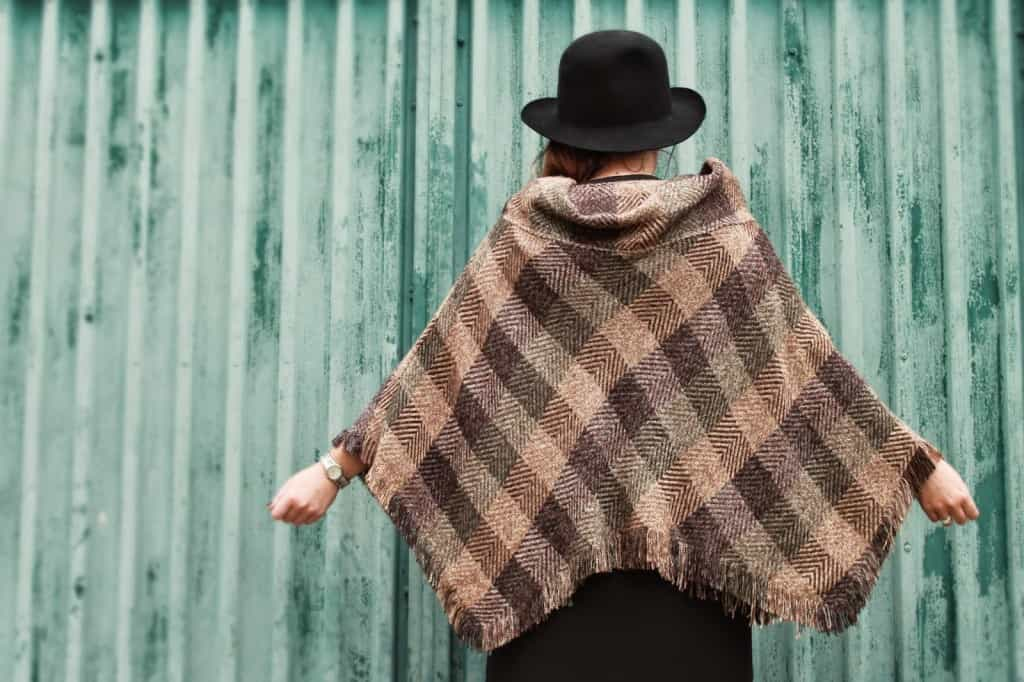 Poncho made from a skirt