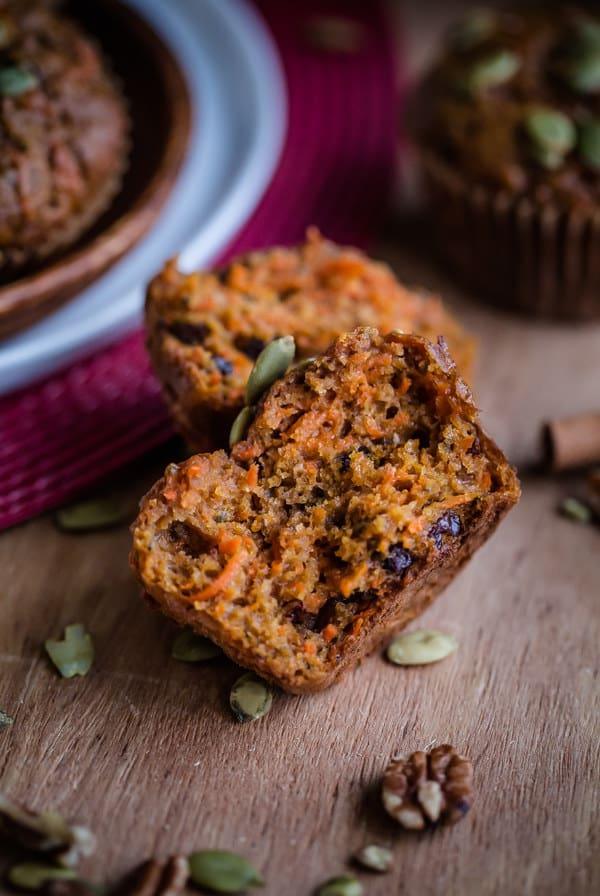 Pumpkin carrot pecan muffins