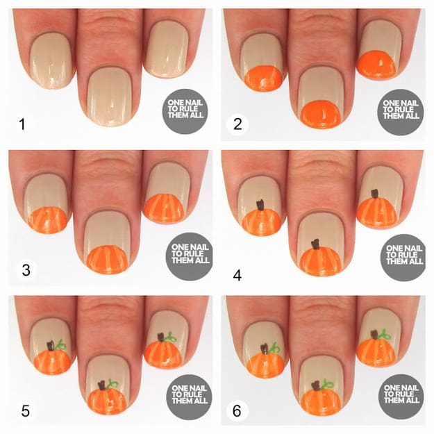 Pumpkin nail tips