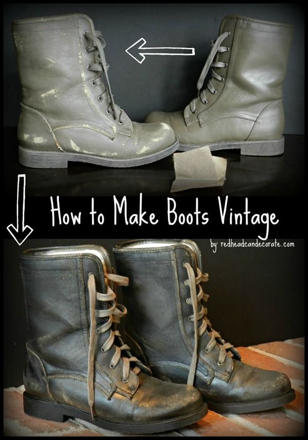 Purposely weathered boots