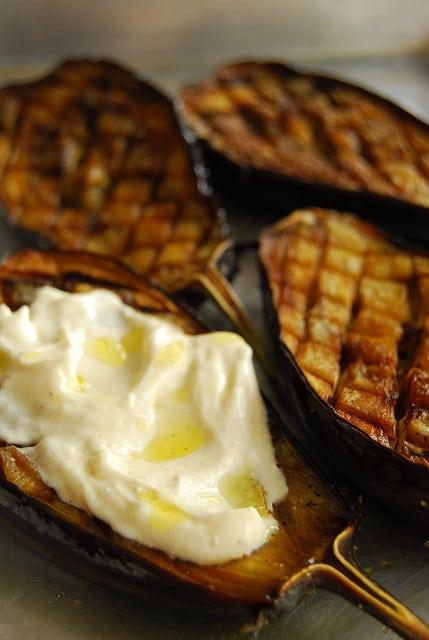 Roasted eggplant with garlic cumin yogurt