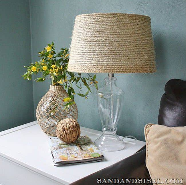 Rope wrapped lampshade