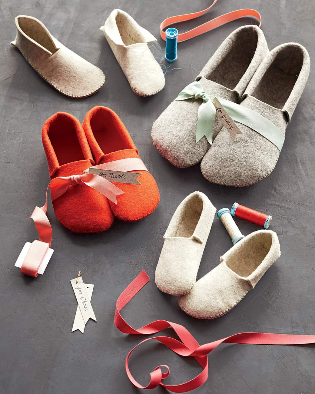 Sewn felt slippers