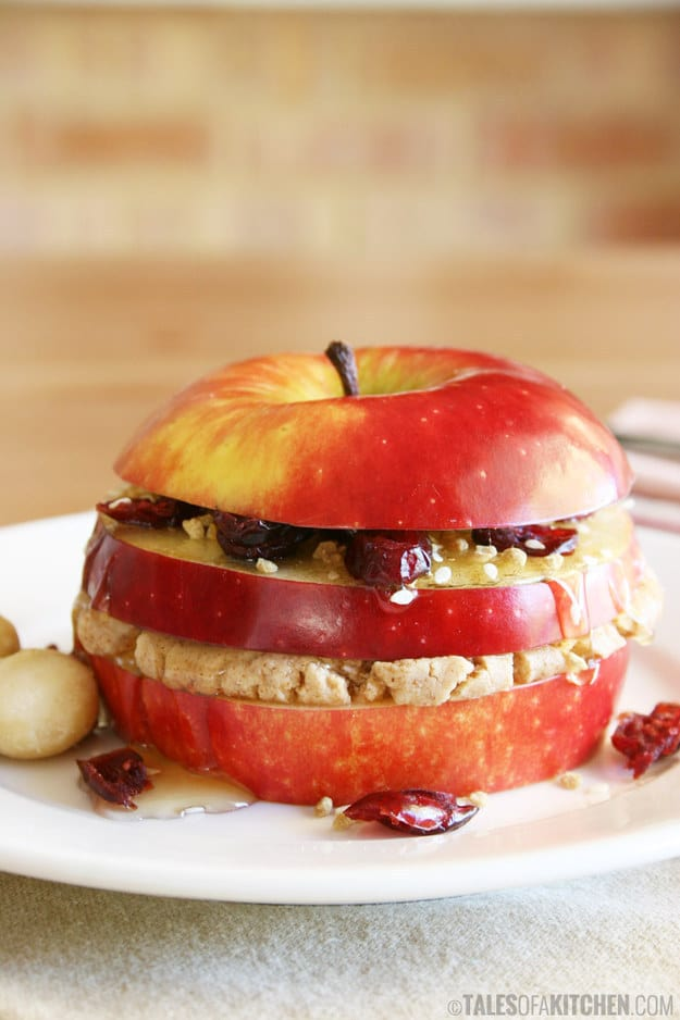 Triple layered apple sandwich