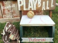 Upcycled Playball stool 200x150 Combining Two Favorite Pastimes: Cute Baseball Themed Crafts