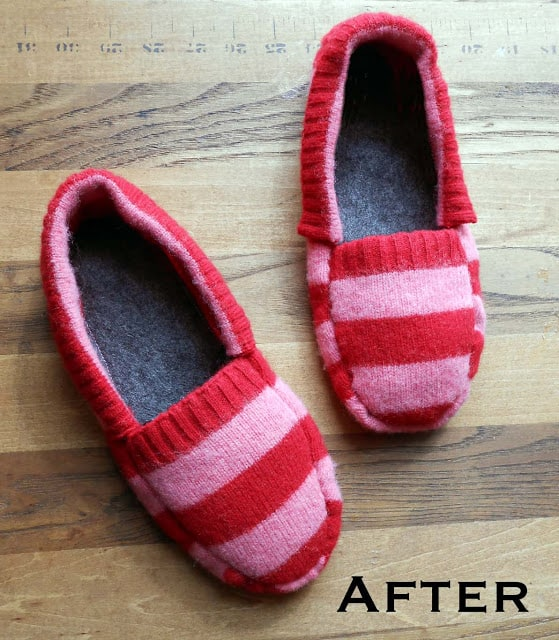 Upcycled sweater slippers