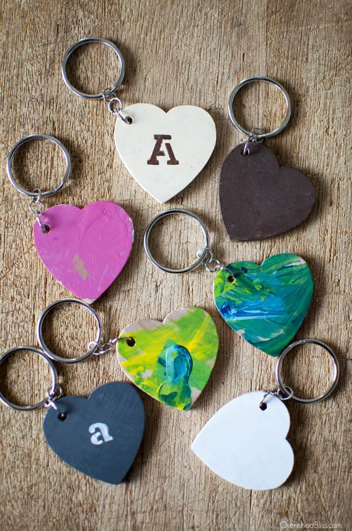 Wooden hearts keychains