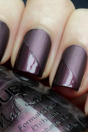 deep purple matt and chrome mani