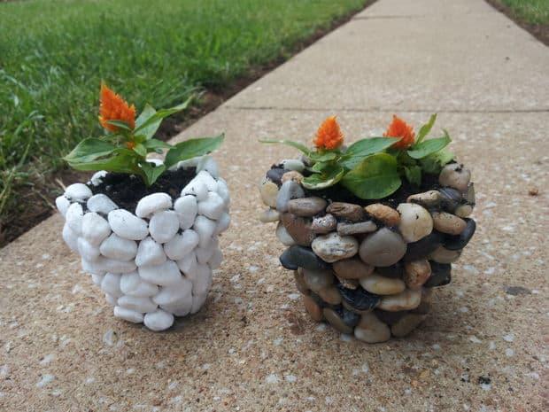 pebble planters