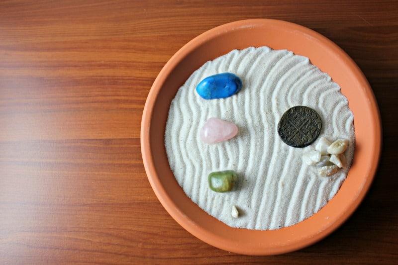 zen garden with stones