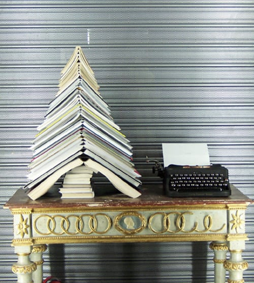 Book pile tree