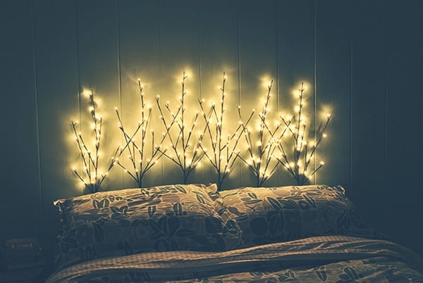 Branches and lights headboard