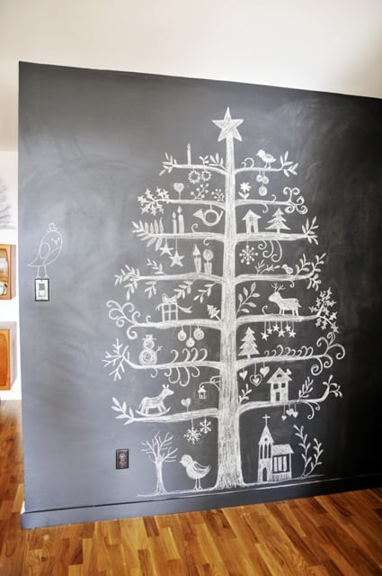 Chalkboard wall Christmas tree