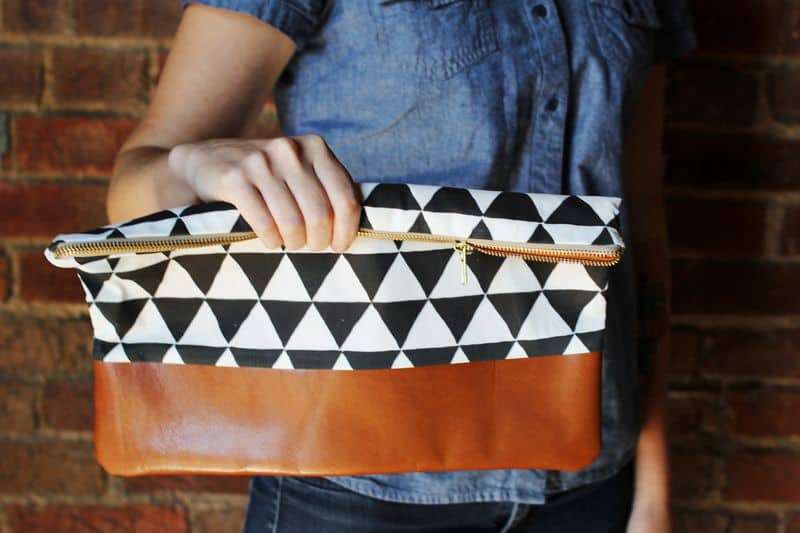 Cotton + Leather Clutch