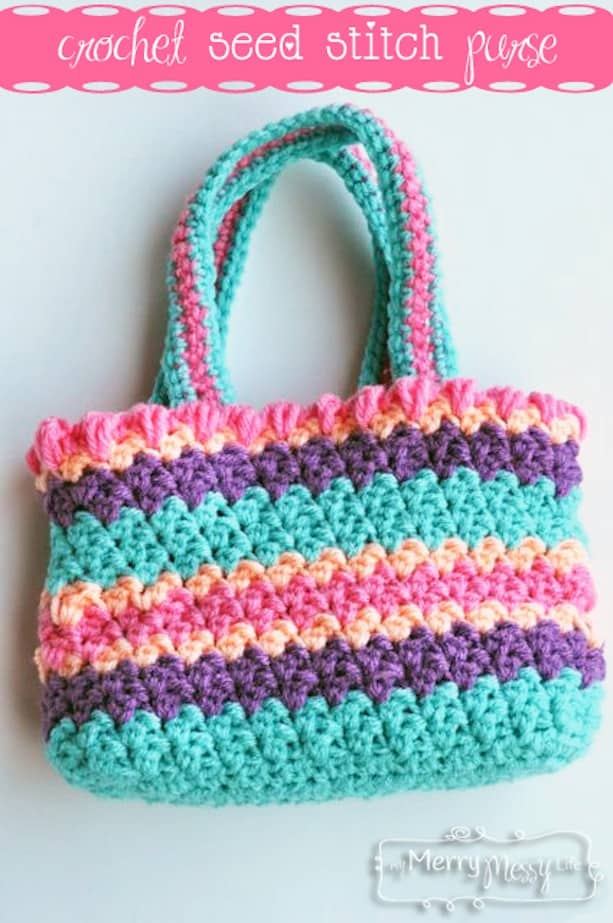 Crochet seed stitch purse by My Merry Messy Life e1d2278c0ac4e
