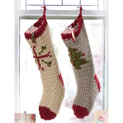Crocheted and cross stitched stockings