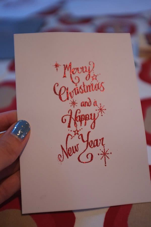 DIY glitter embossed card