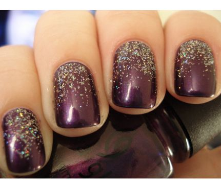 Deep plum and glitter nails
