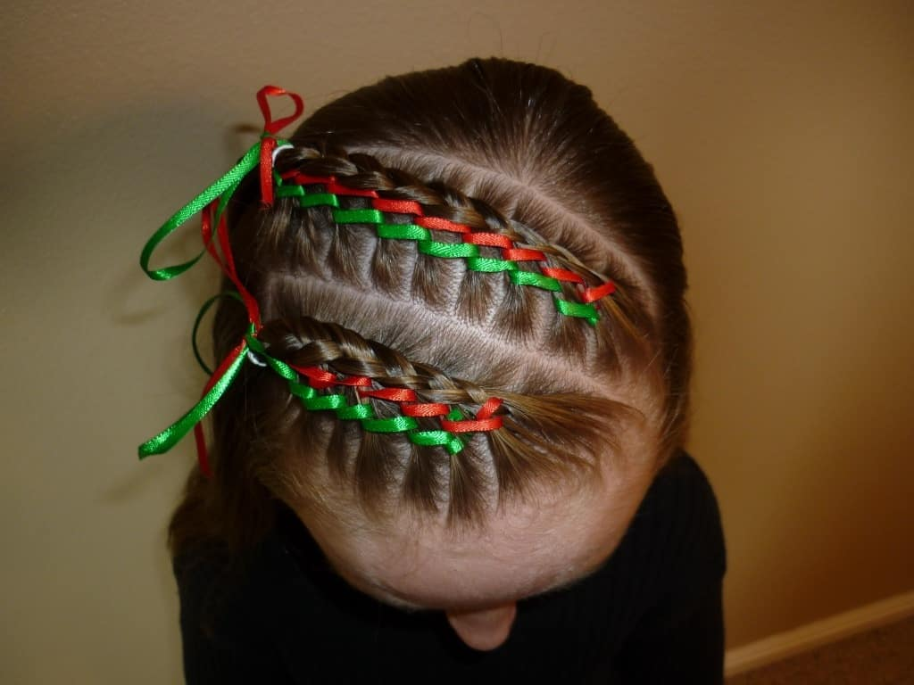 Diagonal holiday ribbon braids