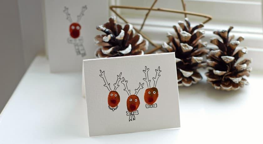 Finger print reindeer cards