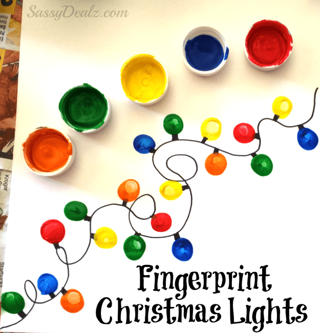 Fingerprint Christmas light cards