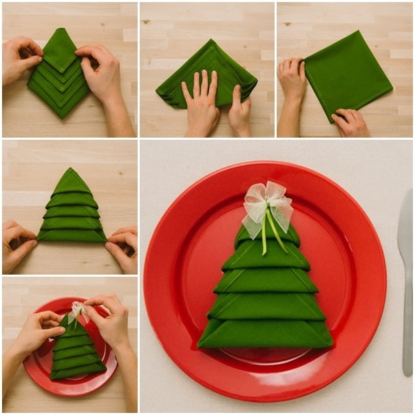 VIEW IN GALLERY Flat Christmas tree napkin - Fun Ways To Fold Your Napkins For Christmas Dinner