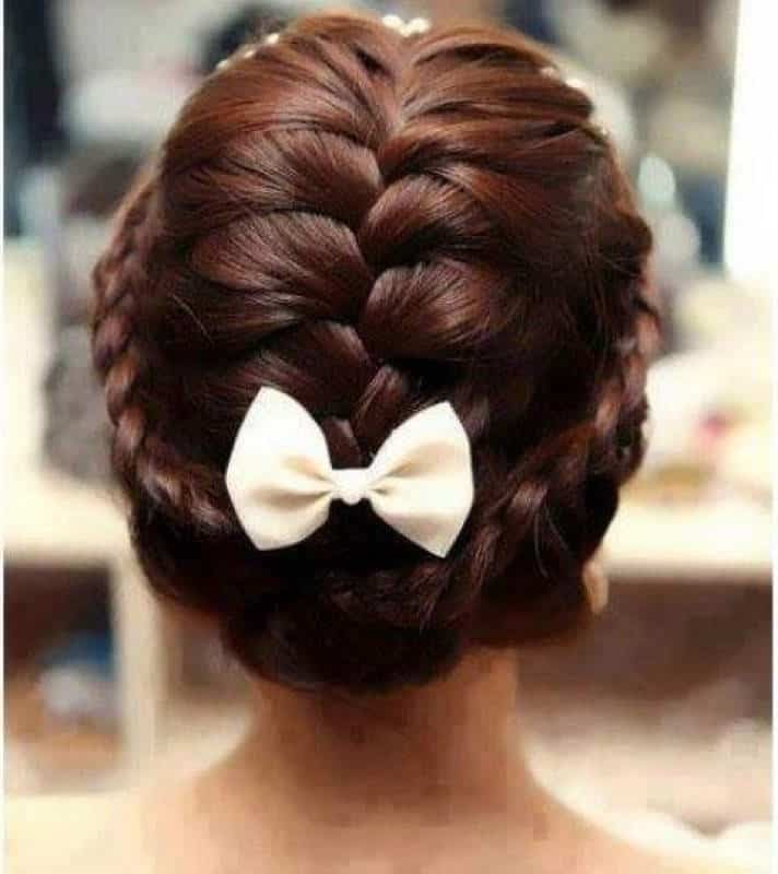 French braid with braided halo
