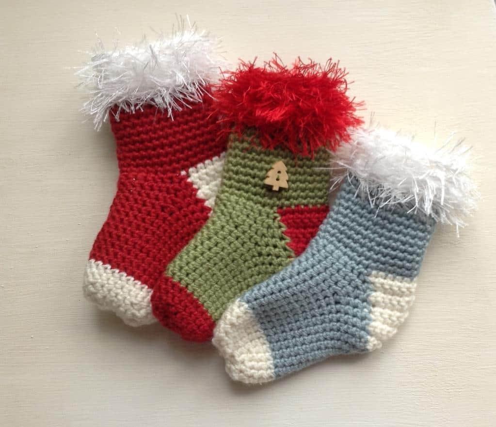 Fuzzy topped mini stockings