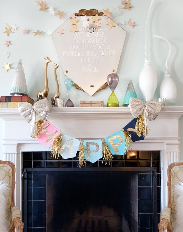 Gold leaf letter and fringe garland