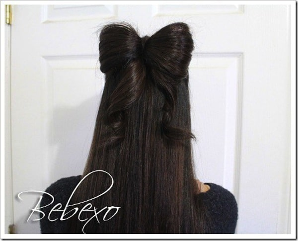 Hair bow half updo 15 Beautiful Christmas Hairstyles Ideas and Inspiration