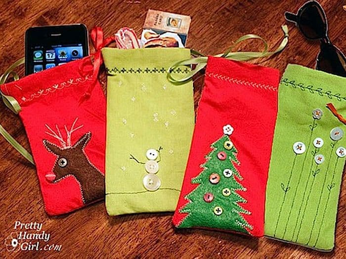 Homemade upcycled napkin gift pouches
