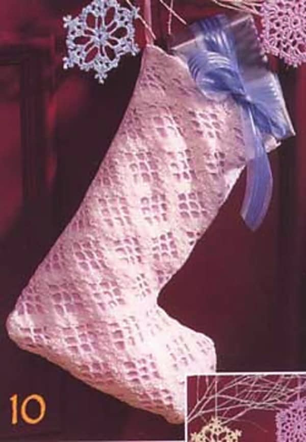 Lace crochet stocking