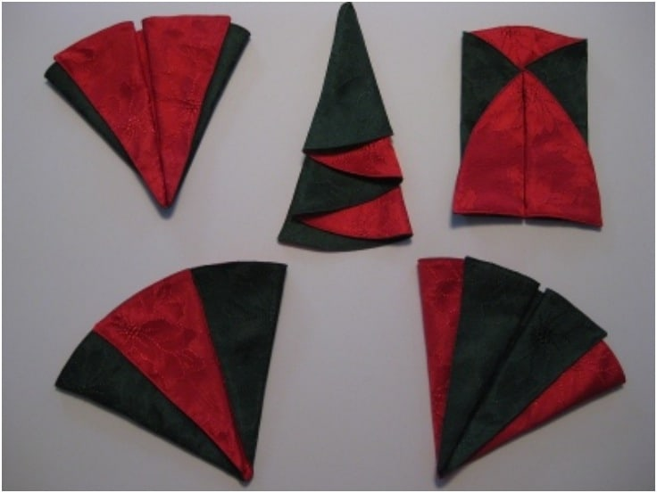 Red and green Christmas tree napkin