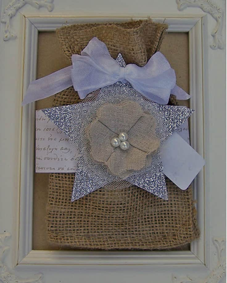 Shabby chic burlap gift bag