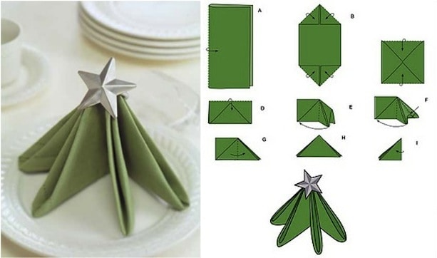 VIEW IN GALLERY Standing Christmas tree napkin - Fun Ways To Fold Your Napkins For Christmas Dinner