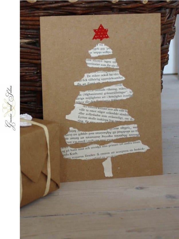 Torn Christmas story tree cards