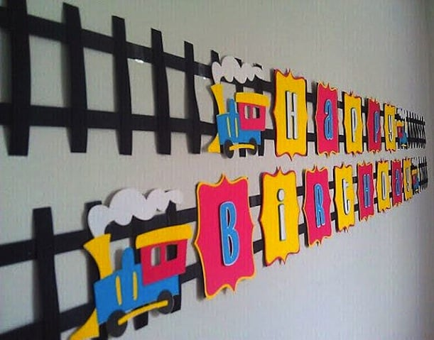 Train track birthday banner