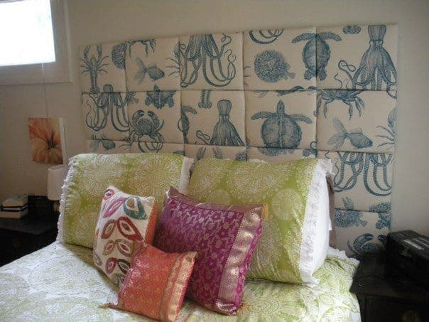 Upholstered fabric squares