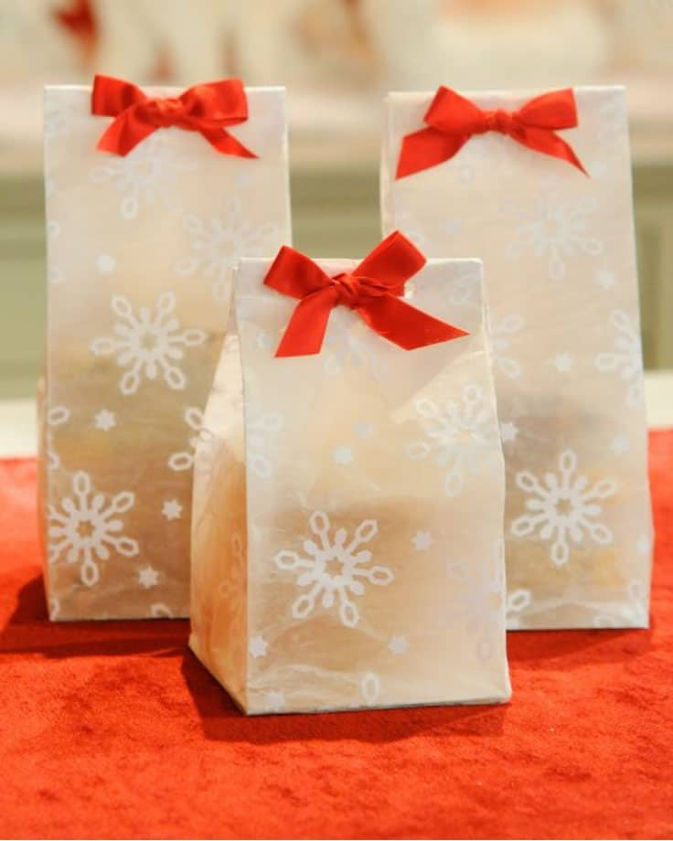 Wax paper snowflake treat bags