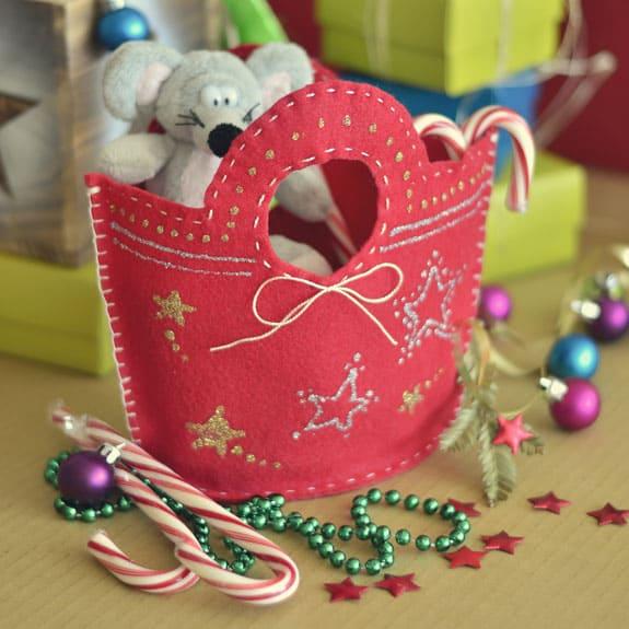 stitched felt gift bag