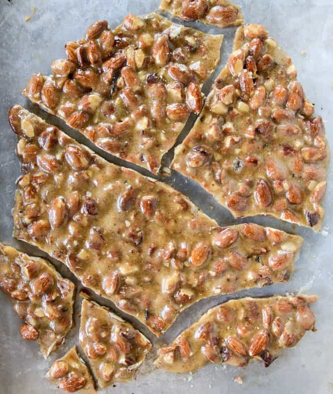 Bacon almond vanilla bean brittle