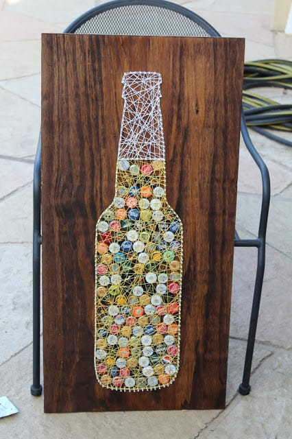 Bottle cap string art