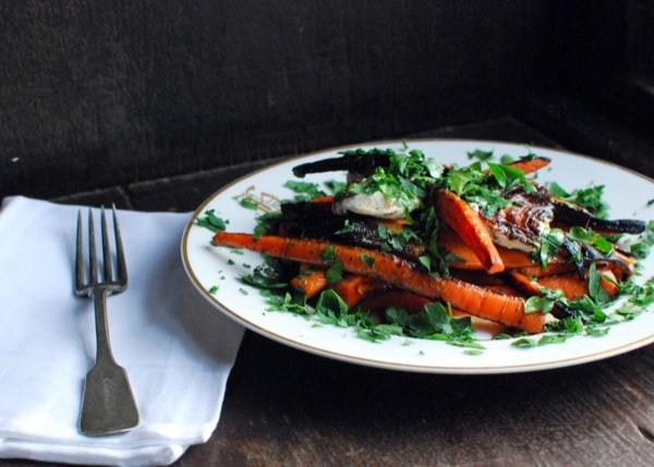 Charred carrots with griddled goat cheese