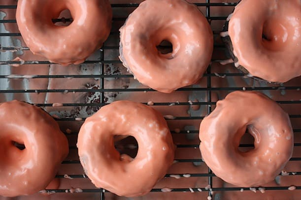 Chocolate donuts with blod orange glaze
