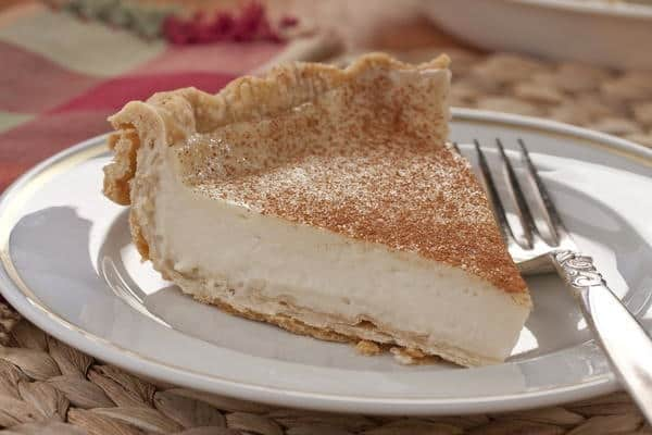 Cinnamon topped Amish custard pie