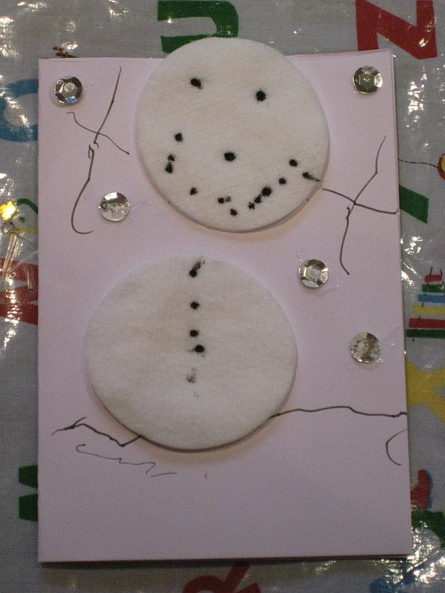 Cool Cotton pad snowman card