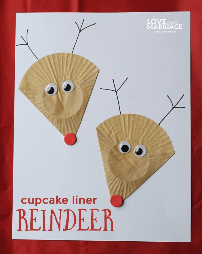 Cupcake liner reindeer