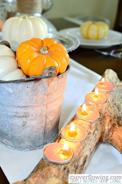 Driftwood candle holder centerpiece