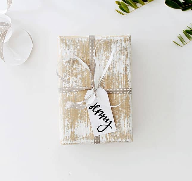 Dry brush gift wrap