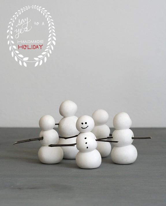 Easy clay snowmen